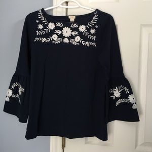 J Crew embroidered blouse